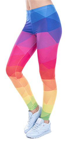 Mädchen Kostüm Workout 80er - DD.UP Damen Strumpfhose Sport Print Yoga Leggings Workout Fitness Running Pants Mehrfarbig One Size