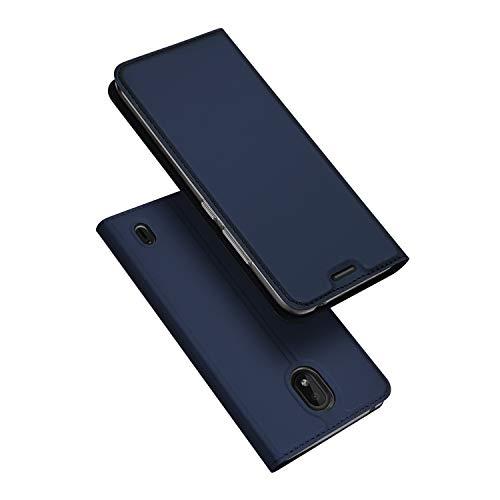 DUX DUCIS Hülle für Nokia 1 Plus, Leder Flip Handyhülle Schutzhülle Tasche Case mit [Kartenfach] [Standfunktion] [Magnetverschluss] für Nokia 1 Plus (Blau)