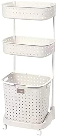 Laundry Basket Organize,Bathroom Storage,3 Tiersr Kitchen Bathroom Organizer Rack With Wheels
