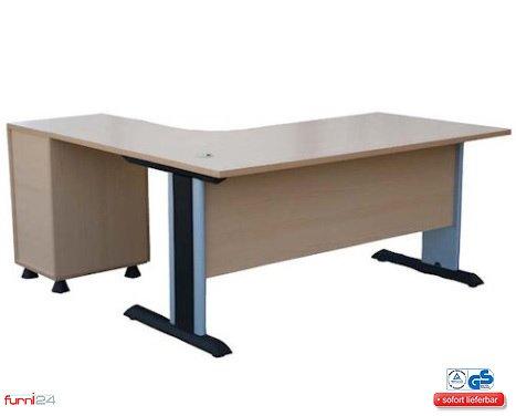 Winkelschreibtisch Büroschreibtisch Schreibtisch Eckschreibtisch Computertisch buche inkl. Unterbaucontainer (180 cm x 120 cm x 74 cm) rechts gewinkelt **simple Montage**
