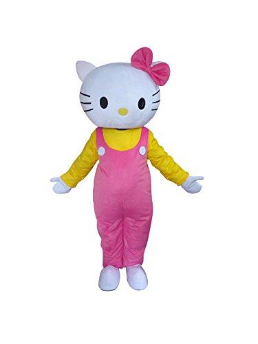 Happy Shop EU Hello Kitty Katze Halloween Maskottchen Kostüm für Erwachsene Fancy Dress Outfit