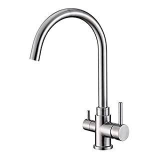 Osmio Bella 304 Stainless Steel 3 Way Filter Tap (Tri-Flow) Swan Neck Kitchen Tap