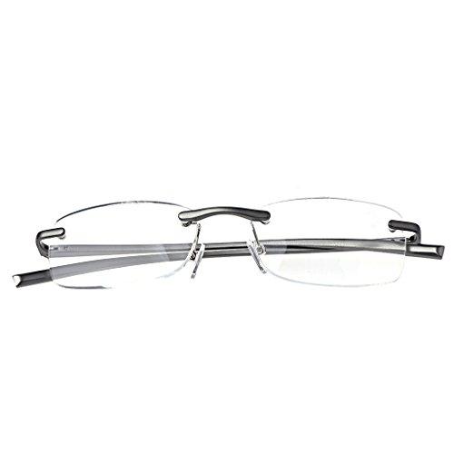 Fogun Aluminium Randlose Lesebrille Schmal Klein Mini Leicht Lesehilfe Augenoptik Sehstärke Lesebrillen (1.0)