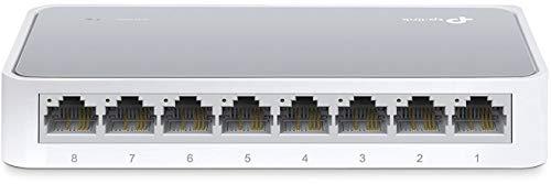 dsl switch TP-Link TL-SF1008D 8-Port Fast Ethernet-/Netzwerk-/Lan Switch (10/100Mbit/s, automatische Geschwindigkeits- und Duplexanpassung, Plug-und-Play, Auto-MDI/MDIX, lüfterlos) weiß