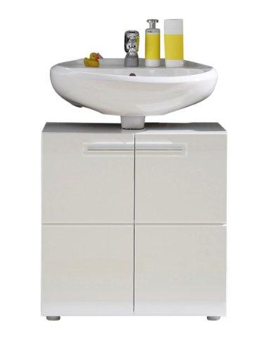 Trendteam 1327-301-01 Badezimmer Waschbeckenunterschrank Unterschrank Bora, 60 x 56 x 34 cm in Weiß Hochglanz mit viel Stauraum