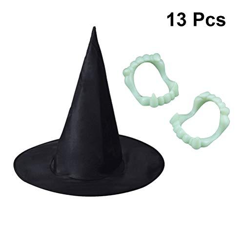 alloween Hexenhut Leuchtende Vampirzähne Halloween Kunststoff Zähne Cosplay Kostüm Zubehör für Halloween Party Favors ()