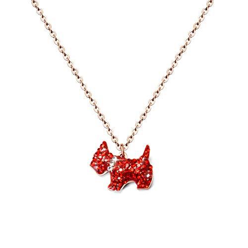 JMZDAW Halskette Anhänger Welpe Mit Diamanthalskette Roter Welpe Dieses Jahr Übertragen Halskette Schmuckanhänger Schlüsselbeinkette -