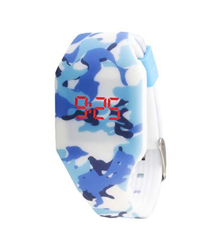 Orologio digitale a LED KIDDUS per bambini, ragazze, adulti. Cinturino comodo in morbido silicone. Batteria giapponese lunga durata. Facilità di lettura e apprendimento dell'ora. KI10215 Camuffamento