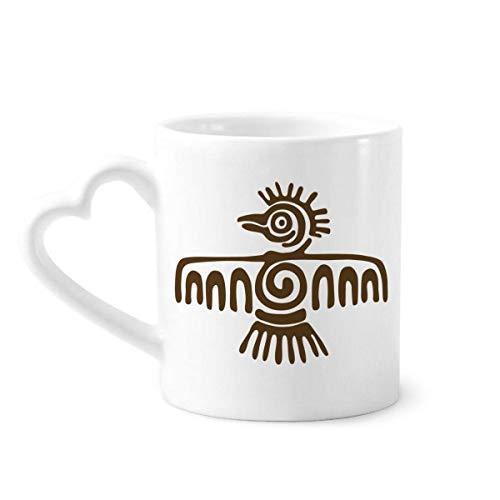 DIYthinker Mexique Totems Eagle Chauve Civilisation Ancienne poterie Tasse à café Tasse en céramique avec Un Cadeau poignée de Coeur 12oz Multicolor