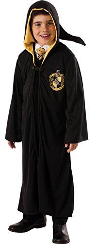 erdbeerloft - Jungen Karneval Kostüm Harry Potter Hufflepuff Robe , Schwarz, Größe 98-104, 3-4 Jahre