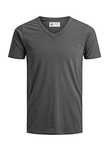 JACK & JONES Herren T-Shirt JJEBASAL Tee V-Neck GER KA - Slim Fit, Grße:S, Farbe:Asphalt (12157247) -