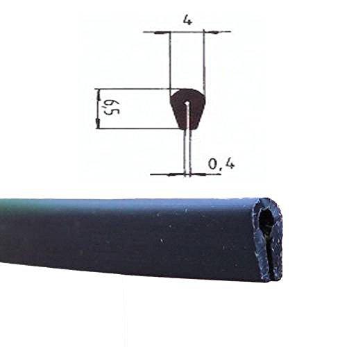 EUTRAS Kantenschutz KSO4004 Keder Schutzleiste - für Kanten 0,4 - 1,5 mm - schwarz - 3 m