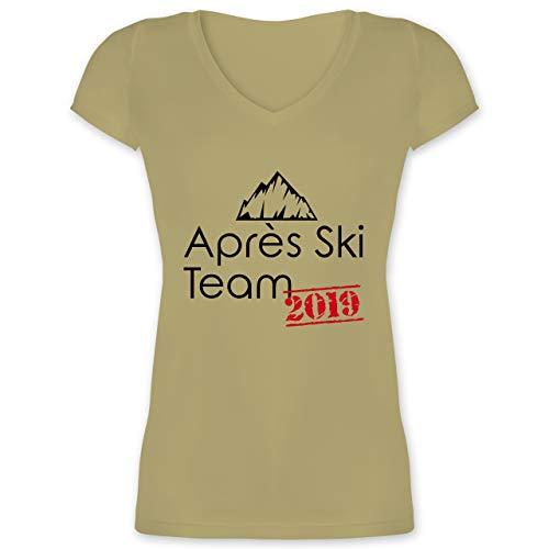 Après Ski - Après Ski Team 2019 - XS - Olivgrün - XO1525 - Damen T-Shirt mit V-Ausschnitt