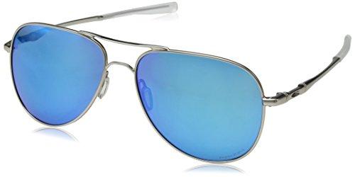 Oakley Unisex-Erwachsene Elmont 411915 60 Sonnenbrille, Silber (Satin Grey Chrome/Prizmsapphirepolarized),