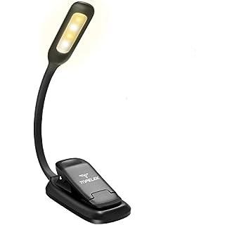 Buchlampe LED, TOPELEK LED Leselampe Buch Klemme mit 4 LEDs, 3 Helligkeitseinstellungen, 360° Flexibel and USB Wiederaufladbar LED Klemmleuchte, Tischlampe, Arbeitsplatzleuchten mit Klemme für Nacht Lesen, Kindle, Notenständer, Schlafzimmer, Büro.[Energieklasse A+++]