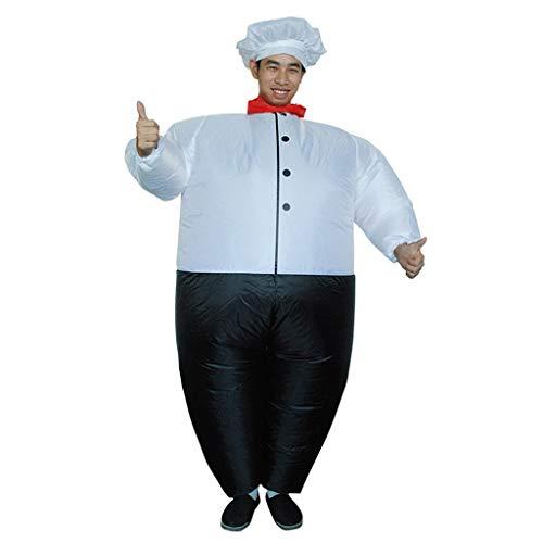 Kostüm Fett Passt - Dasongff Aufblasbares Kostüm,Fatsuit Aufblasbar Smoking Fett Anzug, Koch Fasching Karneval Party Outfit, Männer Cosplay Suit Spielzeug,Erwachsene Fun-Bekleidung Partysuit (A, Weiß)