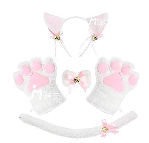 Pavian Katzen-Ohren-Kostüm, Halloween, Cosplay-Kostüm, 5 Stück, Plüsch-Katzenohren, Haarspange, -