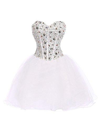 CoutureBridal® Kleid Sequined Kurz Cocktail Abschlussball AbendKleid ParteiKleid Weiß