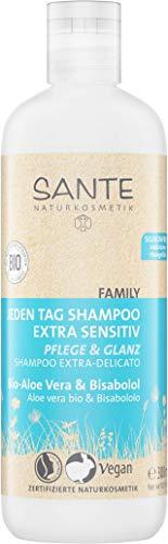 SANTE Naturkosmetik Jeden Tag Shampoo Bio-Aloe Vera & Bisabolol extra sensitiv, Für empfindliche Kopfhaut, Vegan, 300ml -
