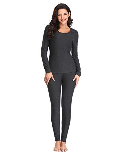 ad8085d4a4975 Lusofie Thermounterwäsche Set Damen Baumwolle Lange Unterhemd Unterhose Set  für Herbst Winter (Dunkelgrau