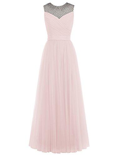 Bbonlinedress Robe de soirée Robe de demoiselle d'honneur en tulle forme empire longueur ras du sol Rose