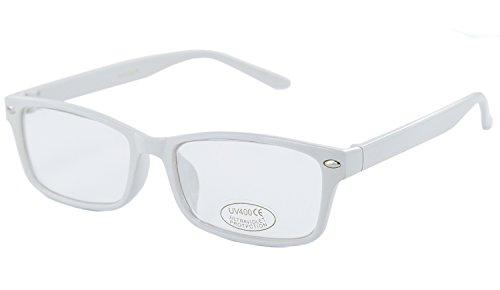 NICK and BEN Nerd-Brille extra schmal weiß ohne Stärke Damen Herren Panto-Brille Lese-Brille - Weiß Und Nerdy Kostüm