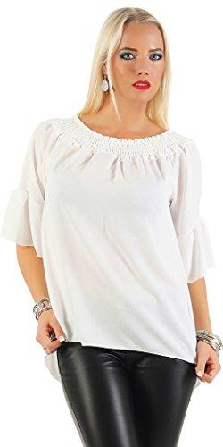 n Oberteil Festlich Chiffon Bluse Batwing Elegant Shirt Kurzarm Große Größen S, M, L, XL, XXL, XXXL (L, Weiß) (Mädchen Klamotten Shoppen)