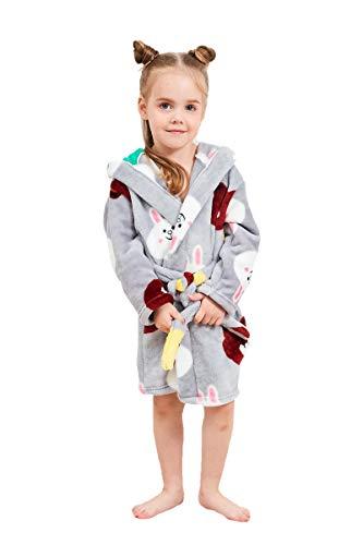 XINNE Jungen Mädchen Kapuzen-Bademantel Unisex Kleinkinder Morgenmantel Weichem Flanell Pyjamas Nachtwäsche Nachthemd Größe 100 Graues Tier