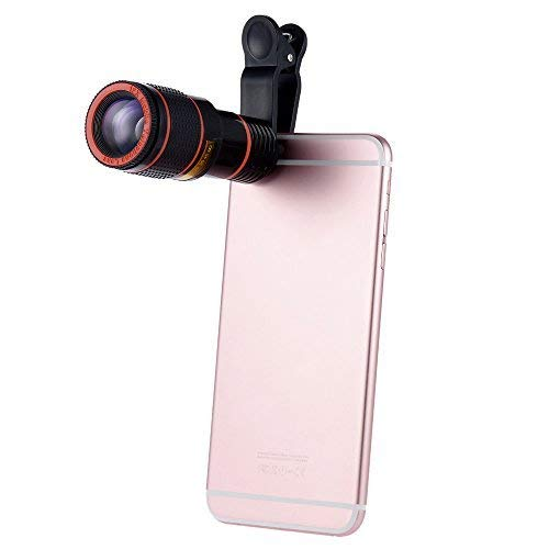 alotm Kamera Objektiv, High Definition 12 x optischer Zoom Focus Handy Objektiv Clip auf Handy Objektiv für iPhone 8, 6S, 6, 5S & Samsung & Huawei & die meisten Smartphones, schwarz (Micro-faser-schürze)