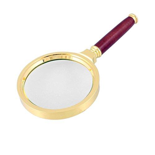 80mm Durchmesser 15X optisches Objektiv Rosenholz Griff Gold Ton Lupe -