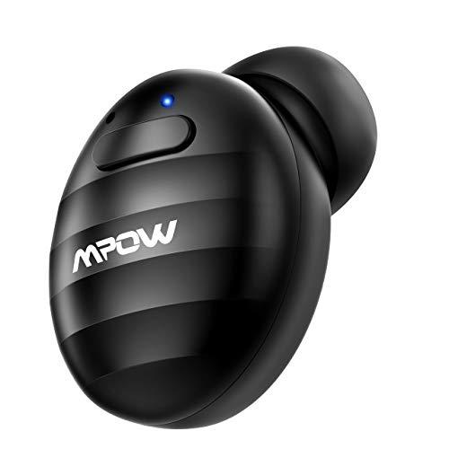 Mpow Mini Auricular Inalámbrico, Auricular Invisible Bluetooth 4.1 EDR con Manos Libres Cancelación de Ruido y Micrófono con USB Magnéticos para Coche y Oficina iPhone Android (Ondulación Negro)