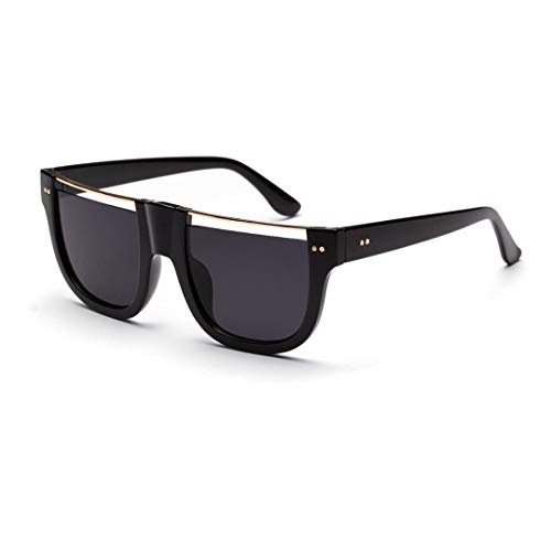 Duhongmei123 Mode Brillen Unisex Halbrahmen Optiacl Brille Persönlichkeit Brille Lässige Mode Klare Linse Brille. Occhiali (Farbe : Bright Black/Grey)