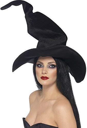 Fancy Me Damen Hoch Twisty Schwarz Velour Hexe Hexen Halloween Horror Karneval Kleid Kostüm Outfit Accessoire Hut -