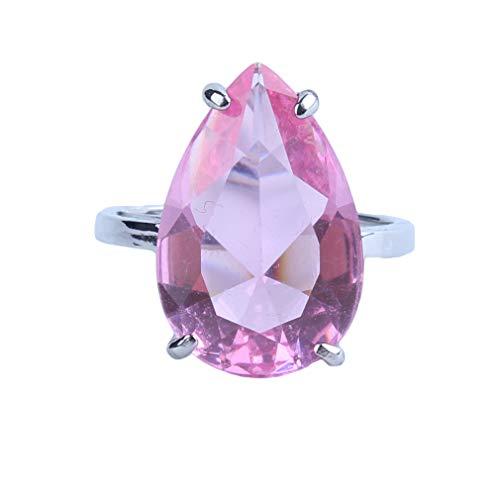 Yeucan Wassertropfen Künstliche Kristall Ring Fünf Krallen Strass Intarsien Ring für Frauen Schmuck Geschenk, Größe 1