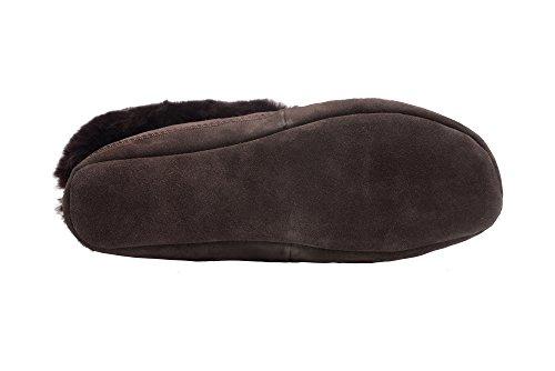 Herren/ Damen Natur Schafsleder Pantoffel Mit Pelz Und Verstellbare Manschette Braun