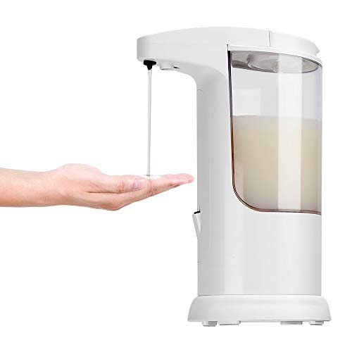 POWERAXIS Touchless Automatischer Seifenspender weiß-Schaumseifenspender mit Infrarot Sensor Elektrische Automatisch Flüssigseifenspender für Spülmittel, Shampoo Duschgel Handseife Küche Badezimmer