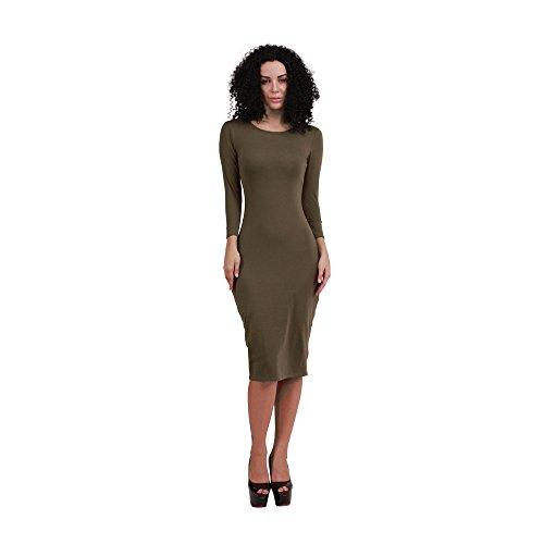 JOTHIN Damen Bodycon Clubwear Rundausschnitt Kleid Knielang Einfarbige Etuikleider Langarm Freizeit Kleider Grün