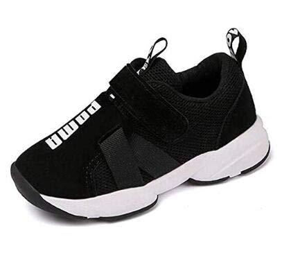 Daclay Kinder Schuhe Jungen Mädchen Leichtes Mesh Obermaterial Komfortabel Klettverschluss Turnschuhe (27 EU, Schwarz) (Jungen Schuhe Turnschuhe)
