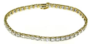 Attractive 9 ct Gold Ladies Fancy Diamond Bracelet Brilliant Cut 2.00 Carat I-I1 - 18cm*3mm, 9 Grams