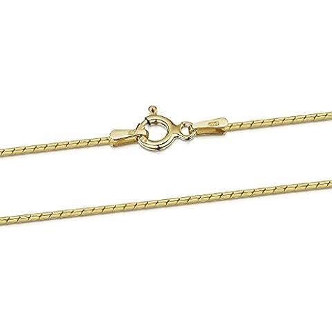 Amberta 925 Sterlingsilber Vergoldet 18K Damen-Halskette - Runde Venezianerkette - Schlangenkette - 1 mm Breite - Verschiedene Längen: 40 45 50 55 60 cm (60cm)