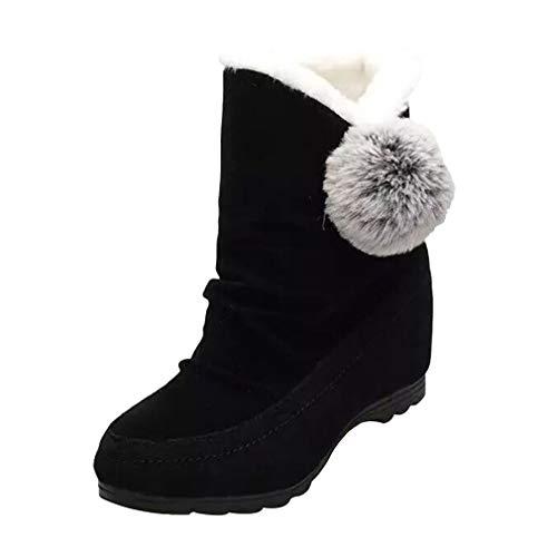 Zapatos de Gamuza para Damas Botas para la Nieve Botas de Tobillo con Punta Redonda Zapatos de Cuña Botas con Tobillo Pisos Zapatos Casuales Botas de Zapatillas con Pompones