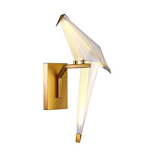 QAZ Wall Lamp light Creative, Salon applique murale acrylique LED lumières décoratives Birdie des milliers de grues de papier Simple Chambre des lumières de chevet, l'or noir (couleur : or, Style : une tête)