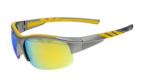Eyekepper Polycarbonat polarisierten Sport Sonnenbrillen für Männer Frauen halben randlose Baseball laufen Fischen fahren Golf Softball wandern TR90 unzerbrechliche grauen Rahmen Gold Spiegel