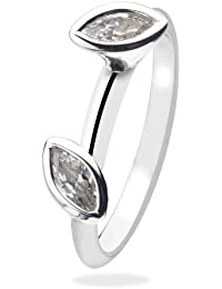 Virtue Silver Stackable VRS3025 2 Marquise Stone Clear Cubic Zirconia Virtue Ring