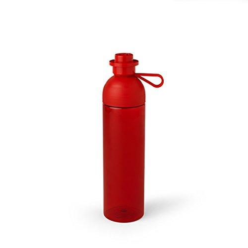LEGO Trinkflasche, Transparent Wasser/Hydration Flasche, 740ml, (leicht zu befüllen mit Eis), transparent rot (Lego Flasche)
