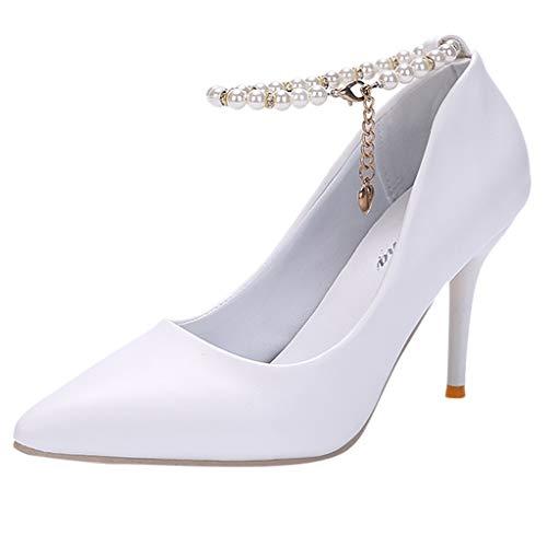 Makefortune 2019 Damen Pumps Mode Sommer Frauen High Heels Spitze dünnen Mund Perlen Einzelschuh Schnalle Sandalen Party Schuhe Frühjahr Beiläufige Dünne Fersen Schuhe