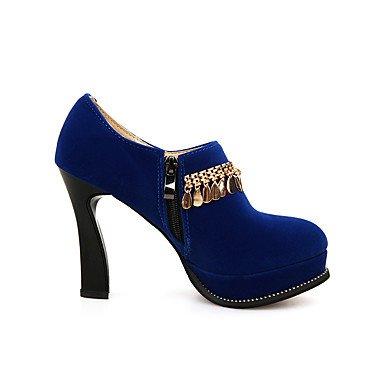 Les talons des femmes Printemps Automne Chaussures formelle extérieure similicuir &Bureau Partie Carrière &soir Fermeture éclair décontracté Talon rouge noir bleu Black