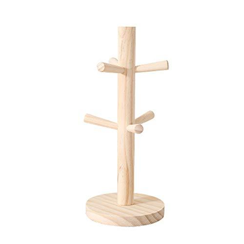 GDRAVEN Arbre de Tassenhangbaum en Bambou avec 6 Crochets pour Le Rangement de Tasses et de thé, Kiefer