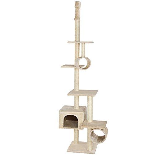 Produktabbildung von TecTake® Kratzbaum für Katzen deckenhoch 2,25m bis 2,45m beige