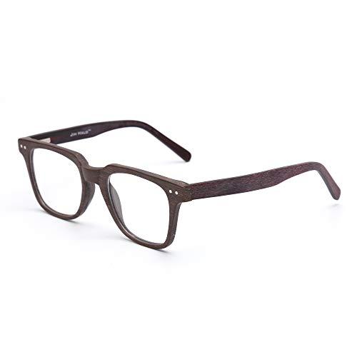 JIM HALO Platz Holz Optische Brillen Rahmen RX-fähig Federscharnier Gläser für Damen Herren Kaffee